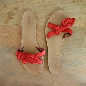 J. Crew Leather Raffia Flower Slide Sandals